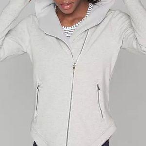 Athleta Gray Heather Easy Karma Zip Jacket  Sz M